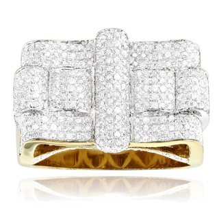 Yellow Goldplated Sterling Silver 1 3/4ct TDW Men's Diamond Square Ring (H-I, SI1-SI2)