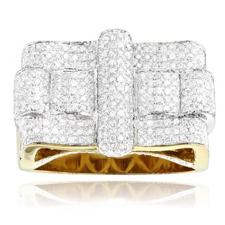 Yellow Goldplated Sterling Silver 1 3/4ct TDW Men's Diamond Square Ring (2 options available)