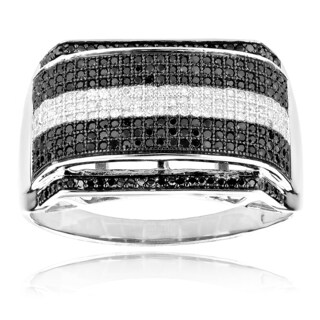 Luxurman 10k White Gold 4/5ct TDW Black and White Diamond Men's Ring (H-I, SI1-SI2)