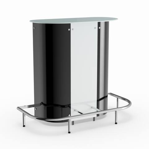 Silver Orchid Rehni Black/ White Contemporary Bar Table