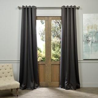 Exclusive Fabrics Charcoal Grommet Top Blackout Curtain Panel Pair