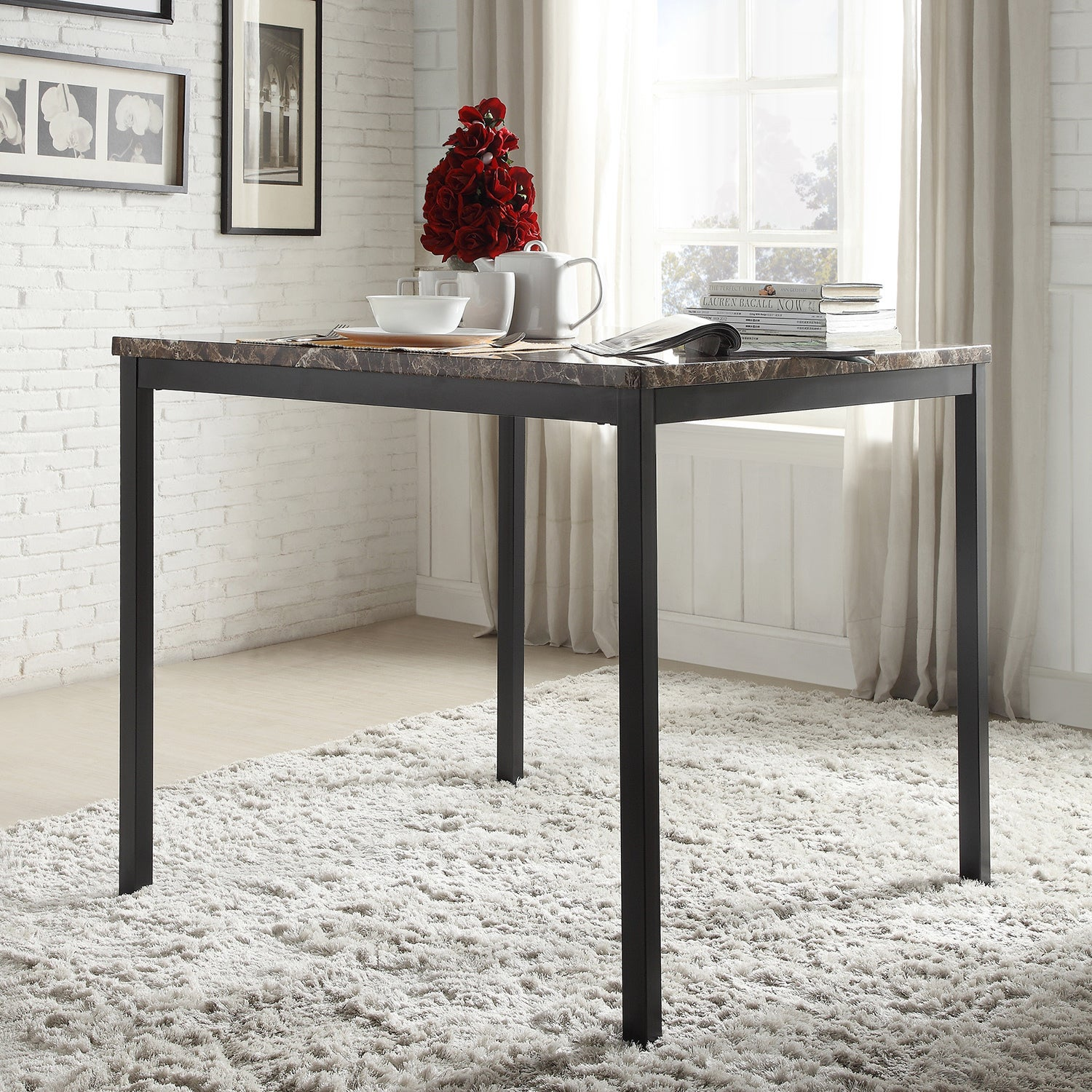 36 Square Dinette Pub Counter Height Kitchen Table No: Darcy Faux Marble Black Metal Counter Height Dining Table