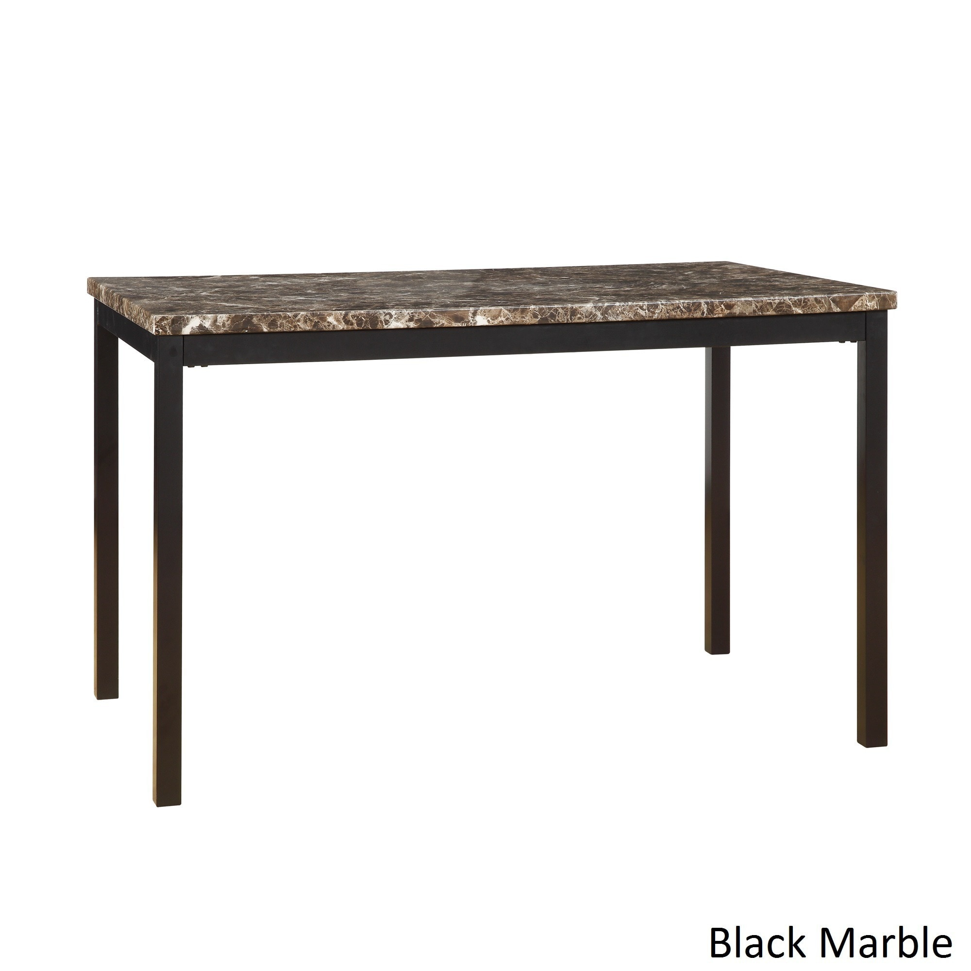 Darcy Faux Marble Black Metal 48-inch Dining Table by iNS...