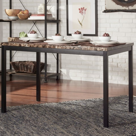 Darcy Faux Marble Black Metal 48-inch Dining Table by iNSPIRE Q Bold