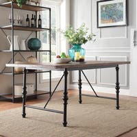 Nelson Industrial Modern Metal Dining Table by iNSPIRE Q Classic - Brown