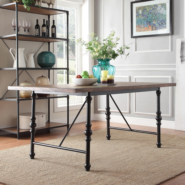 Nelson industrial modern metal dining table by inspire q for Homegoods industrial furniture