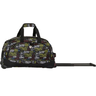 CalPak 'Plato' Black Squares 21-inch Carry-on Rolling Upright Duffel Bag