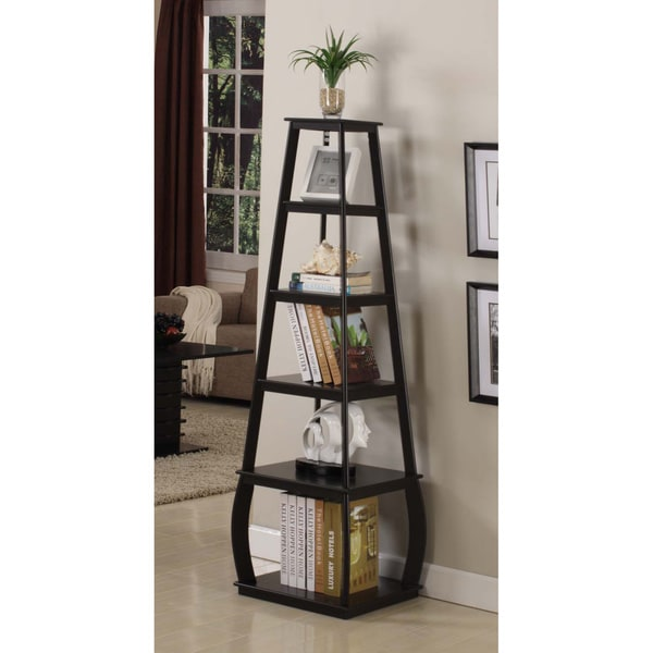 Walnut Five Tiered Corner Bookcase Free Shipping Today
