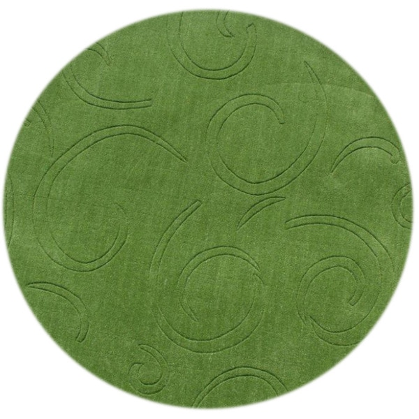 Alliyah Turf Green 6 Foot Round Wool Rug Free Shipping