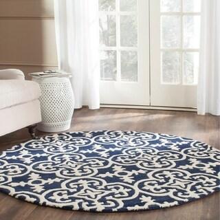 Safavieh Handmade Moroccan Chatham Dark Blue/ Ivory Wool Rug (5' Round)