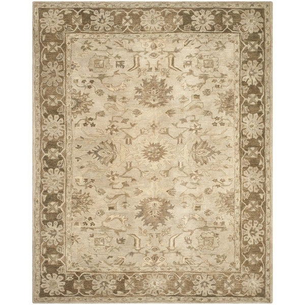 Safavieh Handmade Anatolia Oriental Light Grey/ Dark Brown Hand-spun Wool Rug - 8' x 10'