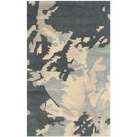 Safavieh Handmade Bella Modern Abstract Steel Blue Wool Rug - 3' x 5'
