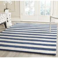 Safavieh Handmade Cambridge Nautical Stripe Navy/ Ivory Wool Rug - 8' x 10'