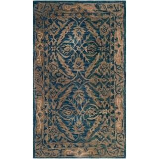 Safavieh Handmade Anatolia Oriental Navy/ Ivory Hand-spun Wool Rug (3' x 5')
