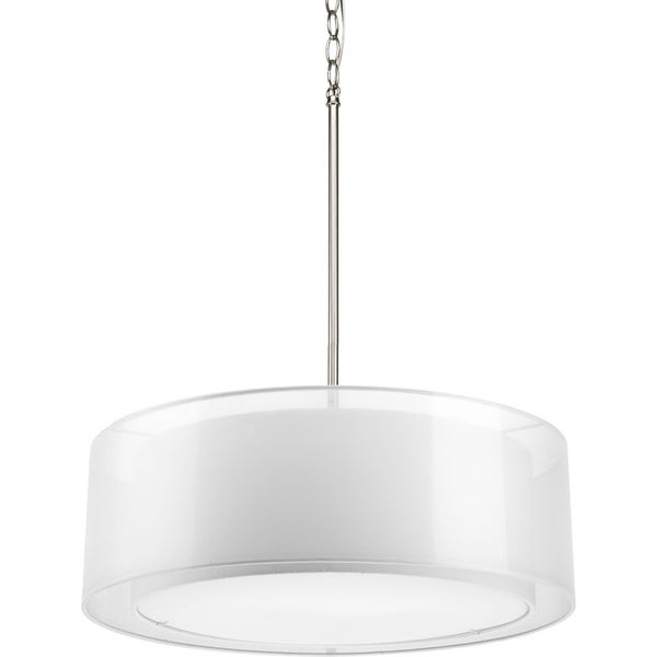 Shop Progress Lighting 3 Light Mylar Drum Pendant Lighting Fixture   Free  Shipping Today   Overstock   9367053