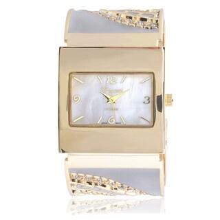 Geneva Platinum Rhinestone Multicolored Cuff Watch