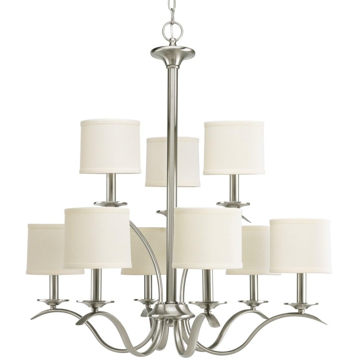 Progress lighting inspire collection 9 light brushed nickel chandelier lighting fixture