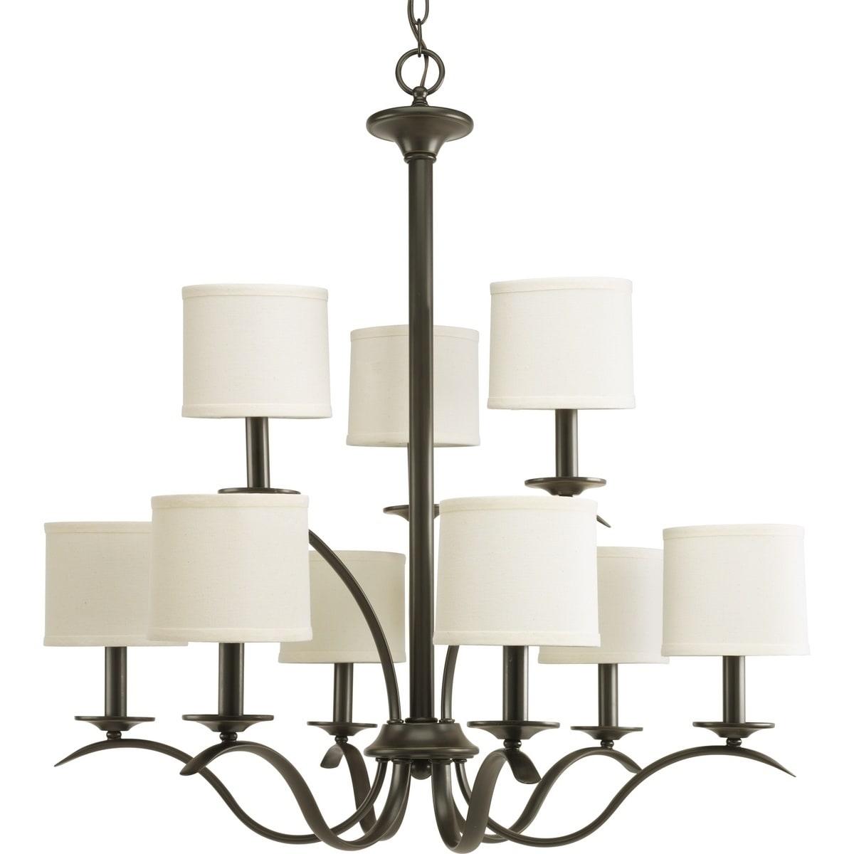 Progress Lighting Inspire Collection 9 Light Antique Bronze Chandelier Fixture N A
