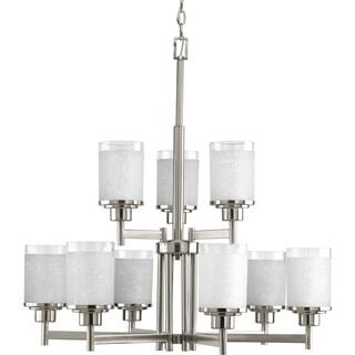 Progress Lighting Alexa Collection 9-Light 2-Tier Brushed Nickel Chandelier Lighting Fixture