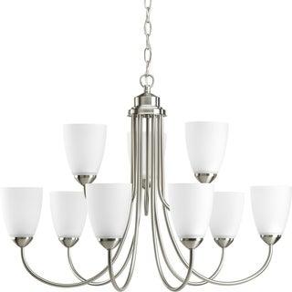 Progress Lighting Gather Collection 9-Light Brushed Nickel Chandelier Lighting Fixture