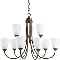 Progress Lighting Gather Collection & Energy Star Certified 9-Light 2-Tier Antique Bronze Chandelier Lighting Fixture
