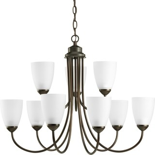 Progress Lighting Gather Collection & Energy Star Certified 9-Light 2-Tier Antique Bronze Chandelier Lighting Fixture