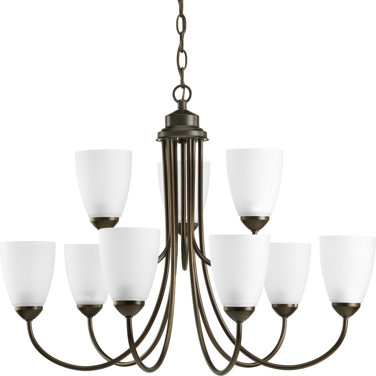 Progress Lighting Gather Collection Energy Star Certified 9 Light 2 Tier Antique Bronze Chandelier Fixture N A