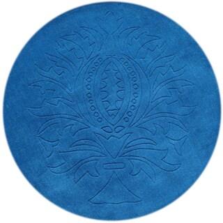 Alliyah Azure Blue 4-foot Round Wool Rug