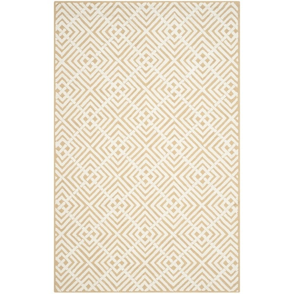 Safavieh Hand-hooked Newport Beige/ White Cotton Rug - 7'9 x 9'9