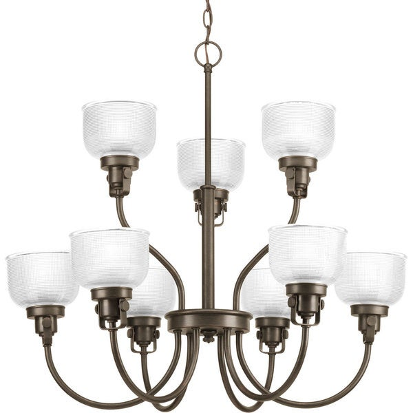 Progress Lighting Archie Collection 9-Light 2-Tier Venetian Bronze Chandelier Lighting Fixture