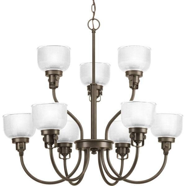 Progress Lighting Archie Collection 9-Light 2-Tier Venetian Bronze Chandelier Lighting Fixture
