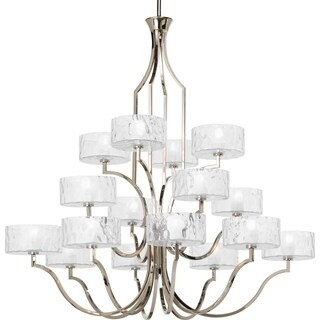 Progress Lighting Caress Collection 16-Light 3-Tier Polished Nickel Chandelier Lighting Fixture