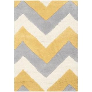 Safavieh Handmade Moroccan Cambridge Grey/ Gold Wool Rug (3' x 5')