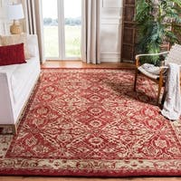 Safavieh Handmade Anatolia Oriental Red/ Ivory Hand-spun Wool Rug - 6' Round