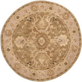 Safavieh Handmade Anatolia Oriental Tan/ Ivory Hand-spun Wool Rug (6' Round)