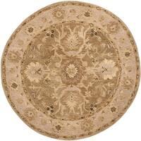 Safavieh Handmade Anatolia Oriental Tan/ Ivory Hand-spun Wool Rug - 6' Round