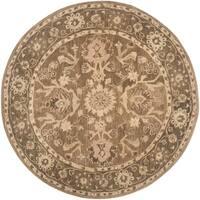 Safavieh Handmade Anatolia Oriental Grey/ Dark Grey Hand-spun Wool Rug - 6' Round