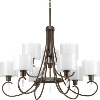 Progress Lighting Invite Collection 9-Light 2-Tier Antique Bronze Chandelier Lighting Fixture