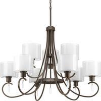 Progress Lighting Invite Collection 9-Light 2-Tier Antique Bronze Chandelier Lighting Fixture
