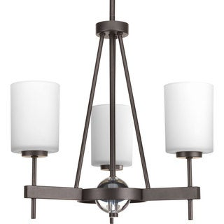 Progress Lighting Compass Collection 3-Light Antique Bronze Linear Chandelier with  K9 Glass Ball Lighting Fixture