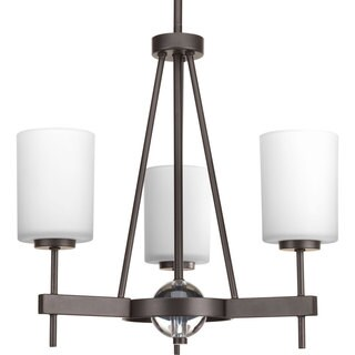 Progress Lighting Compass Collection 3-Light Antique Bronze Linear Chandelier with K9 Glass Ball Lighting Fixture