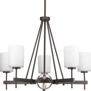 Progress Lighting Compass Collection 5-Light Antique Bronze Linear Chandelier with K9 Glass Ball Lighting Fixture