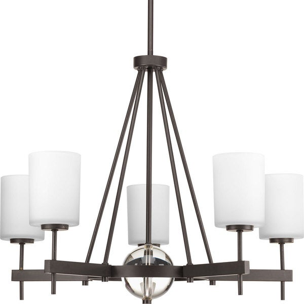 Progress Lighting Compass Collection 5-Light Antique Bronze Linear Chandelier with  K9 Glass Ball Lighting Fixture