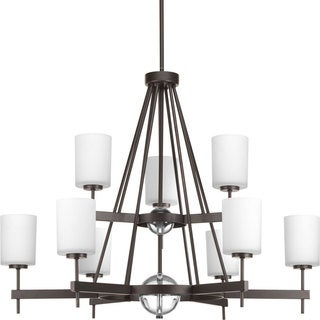 Progress Lighting Compass Collection 9-Light 2-Tier Antique Bronze Linear Chandelier with  K9 Glass Bal Lighting Fixture