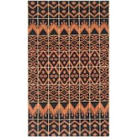 Safavieh Hand-knotted Kenya Orange/ Black Wool Rug - 3' x 5'