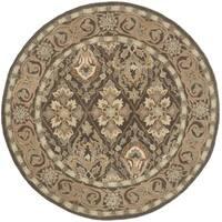 Safavieh Handmade Anatolia Oriental Brown/ Beige Hand-spun Wool Rug - 6' Round
