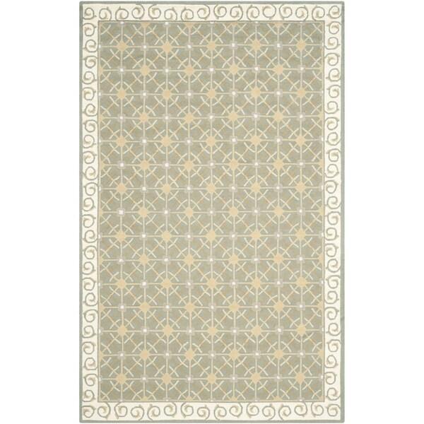 Safavieh Hand-hooked Newport Olive/ Beige Cotton Rug - 7'9 x 9'9