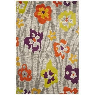 Safavieh Porcello Contemporary Floral Light Grey/ Purple Rug (8'2 x 11')