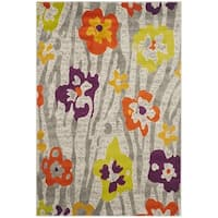 Safavieh Porcello Contemporary Floral Light Grey/ Purple Rug - 8'2 x 11'