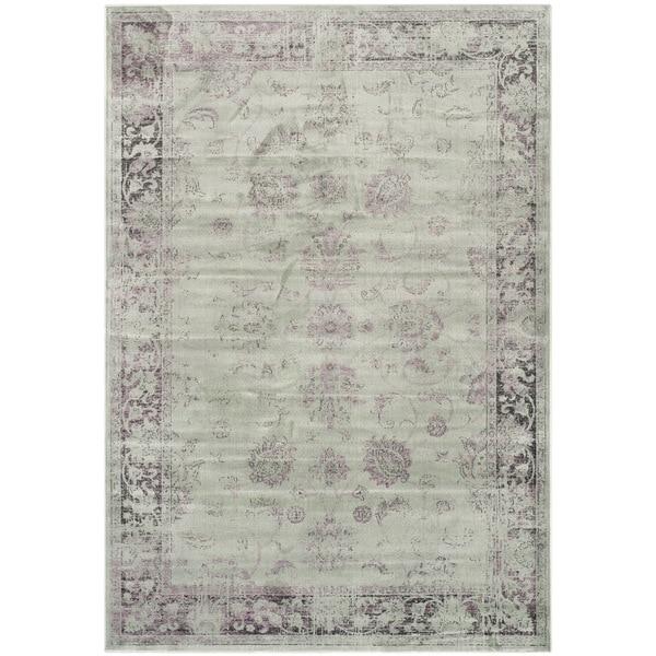 Safavieh Vintage Oriental Grey/ Amethyst Distressed Silky Viscose Rug - 8' x 11'2